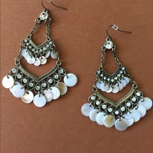 Boho Earrings with Shell and Rhinestones
